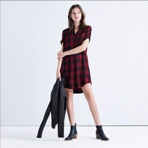 MADEWELL Red Buffalo Check Courier Shirtdress L